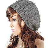 JOVANA New Arrival Top Fashion Winter Warm Women Lady Yong Girls Baggy Beret Chunky Knit Knitted Braided Beanie Hat Ski Cap Crochet Knitted Hat Knitted Crochet Oversized Slouch Hat for Women (Light Grey)