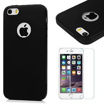 Funda iPhone SE, iPhone 5S Carcasa Silicona Gel Mate + Vidrio Templado Protector de Pantalla - Maviss Diary Case Ultra Delgado TPU Goma Flexible ...