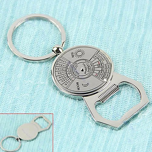1 Set 50 Years Perpetual Calendar Pendant Bottle Opener Keychain Key Ring Chain Wrist Holder Strap Optimal Popular Beer Openers Corkscrew Catcher Knife Vintage Utility Pocket Tool Gift