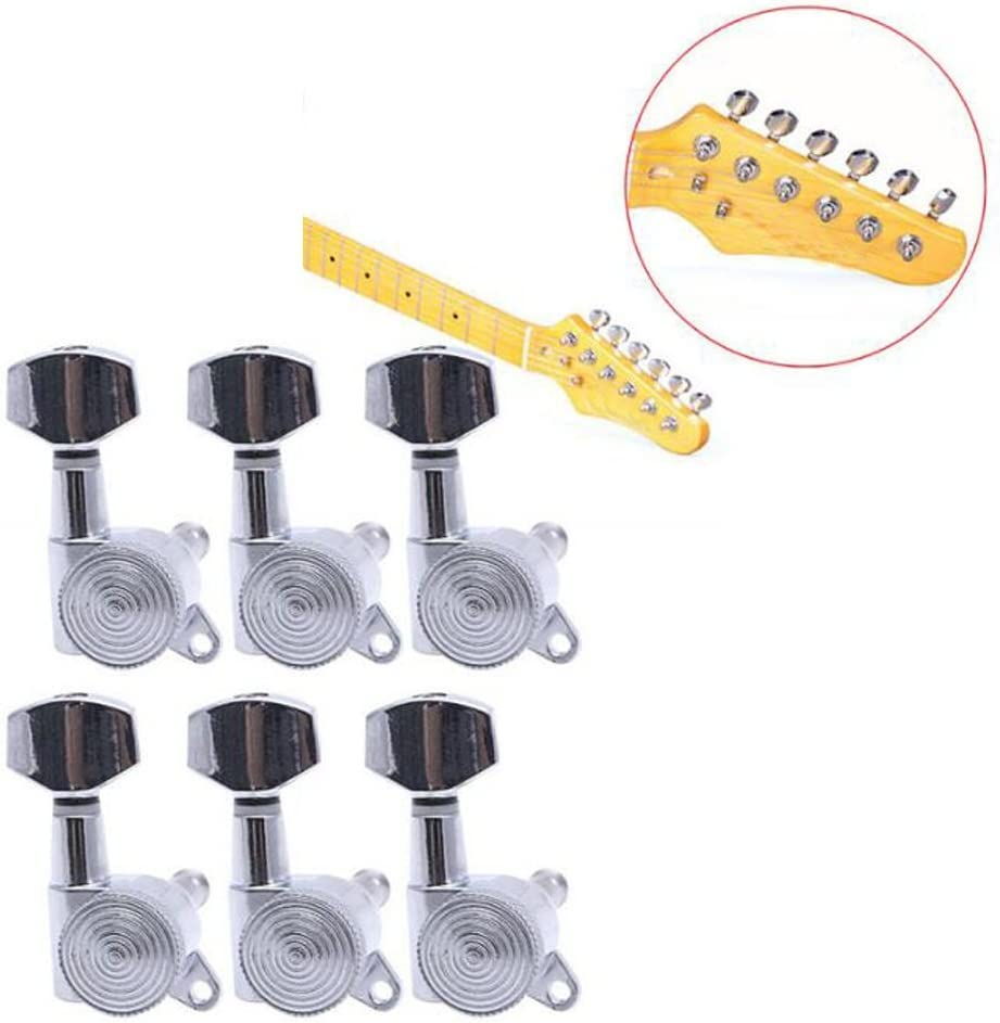 AABABUY Guitar String Lock Tuning Pegs Tuners Machine Heads 6L, Black