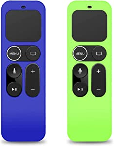 Remote Cover Replacement for Apple TV 4K 4th/5th Gen, 2-Pack Silicone Protective Battery Back Case Sleeve (Glow Green + Blue)