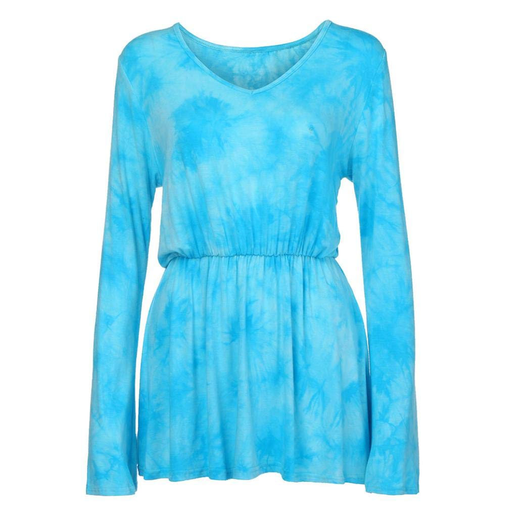 Tsmile Women Blouse Clearance Fashion V-Neck Tie-Dye Print Long Sleeve Tops Pleated Waist Line Tunic Shirt by Tsmile (Image #7)