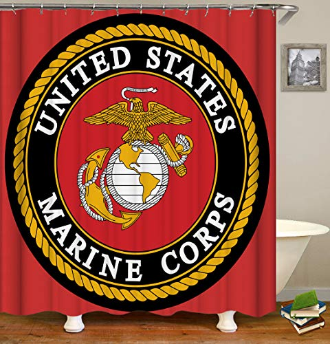 Marina Shower Curtain - Eleroye 72 x 72 inches Shower Curtain United States Marine Corps Eagle Anchor Red Yellow US Navy US Army Water Soap Resistant Machine Washable Fabric Bathroom Decor Set with Hook Bath Curtain