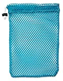 "Mesh Stuff Bag - 11"" x 15"" - Durable Mesh Bag with Sliding Drawstring Cord Lock Closure. Great for Washing Delicates, Rinsing Beach Toys, Seashell Collecting or Scout Mess Bags. (Turquoise)"