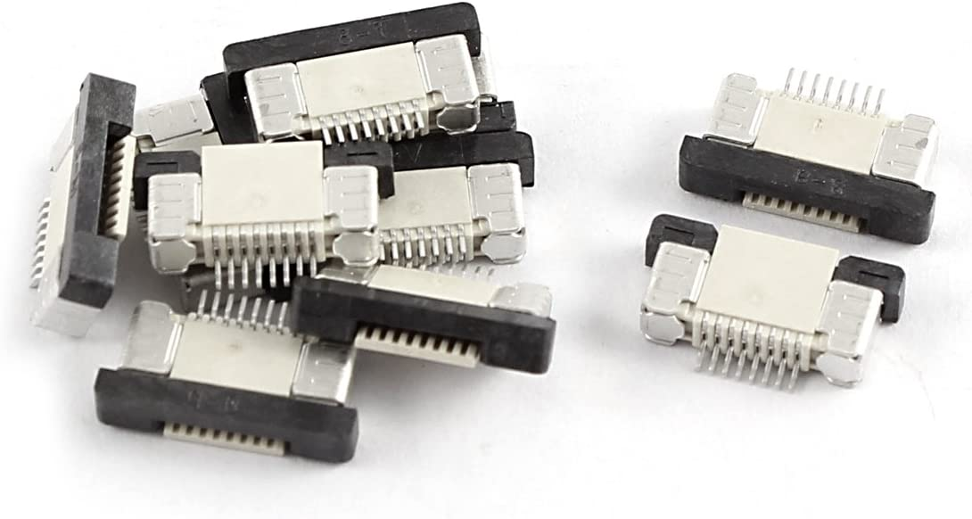 10 Pcs Bottom Port 8Pin 0.5mm Pitch FFC FPC Ribbon Sockets Connector