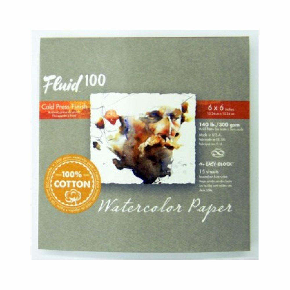 Handbook Paper Fluid 100 Watercolor Cp 140Lb Ez-Block 6X6 GLOBAL ART MATERIAL 4336943579