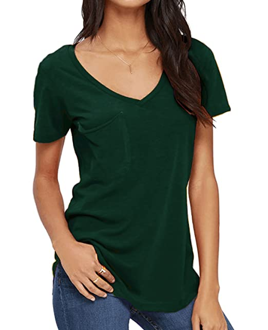 0de693403c48 DEARCASE Women's Short Sleeve Tunic Tops Plain Casual T-Shirts Basic Tees  Tops Blouse Dark Green Small at Amazon Women's Clothing store: