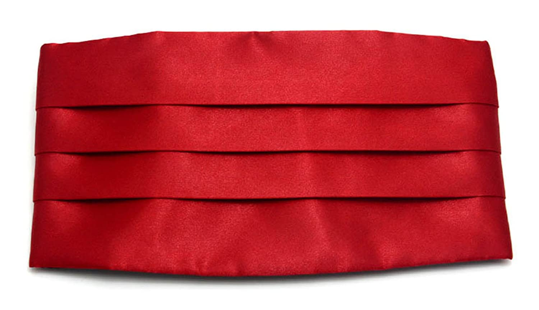 Simpowe Men's Solid Multi-color Silk Cumberbund Red)