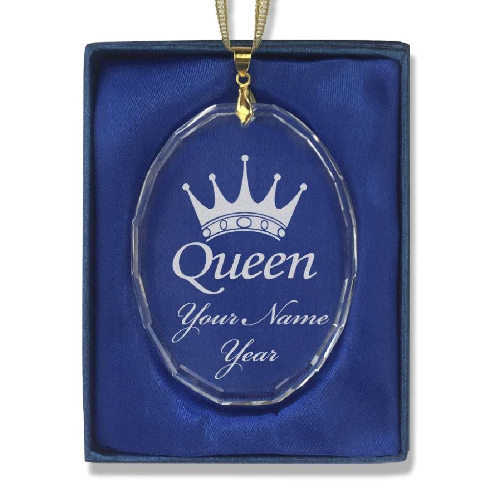 Oval Crystal Christmas Ornament - Queen Crown - Personalized Engraving Included