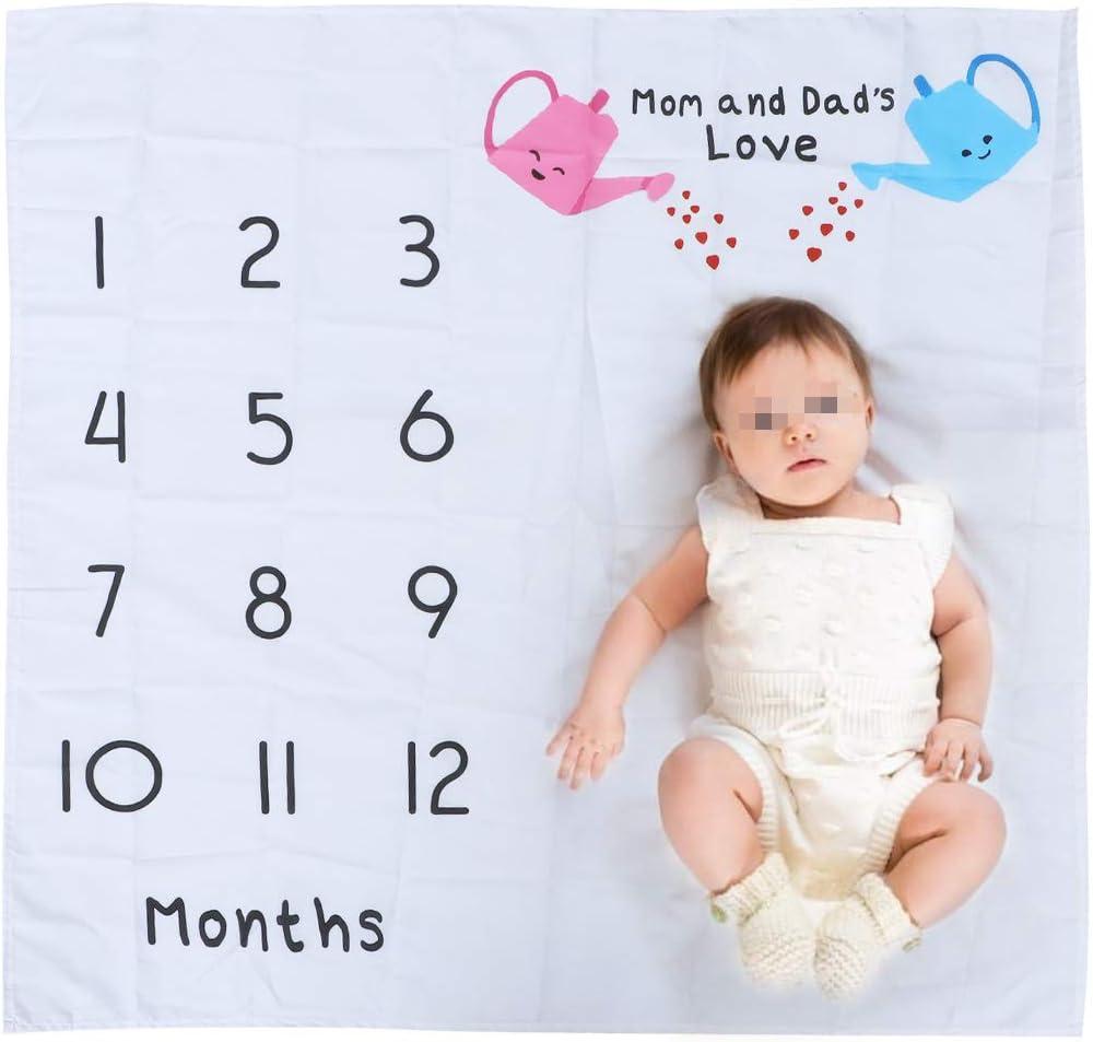 Amosfun Manta de beb/é reci/én nacido para fondo de fotos N/úmeros de crecimiento mensual Apoyos Cubiertas de cochecito Blanco