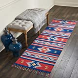 Nourison BAJ03 Baja Tribal Area Rug 2 3 Inches by 7 Feet 6 Inches, 2'3'' x7'6, BLRED