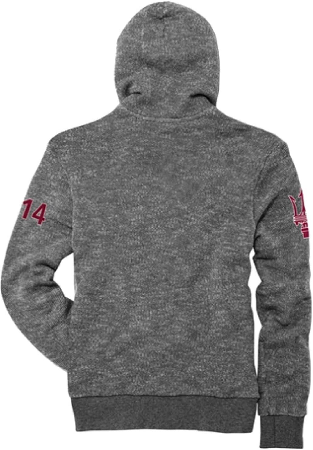 Maserati Mens Knitted Gray Zip Sweatshirt with Hood