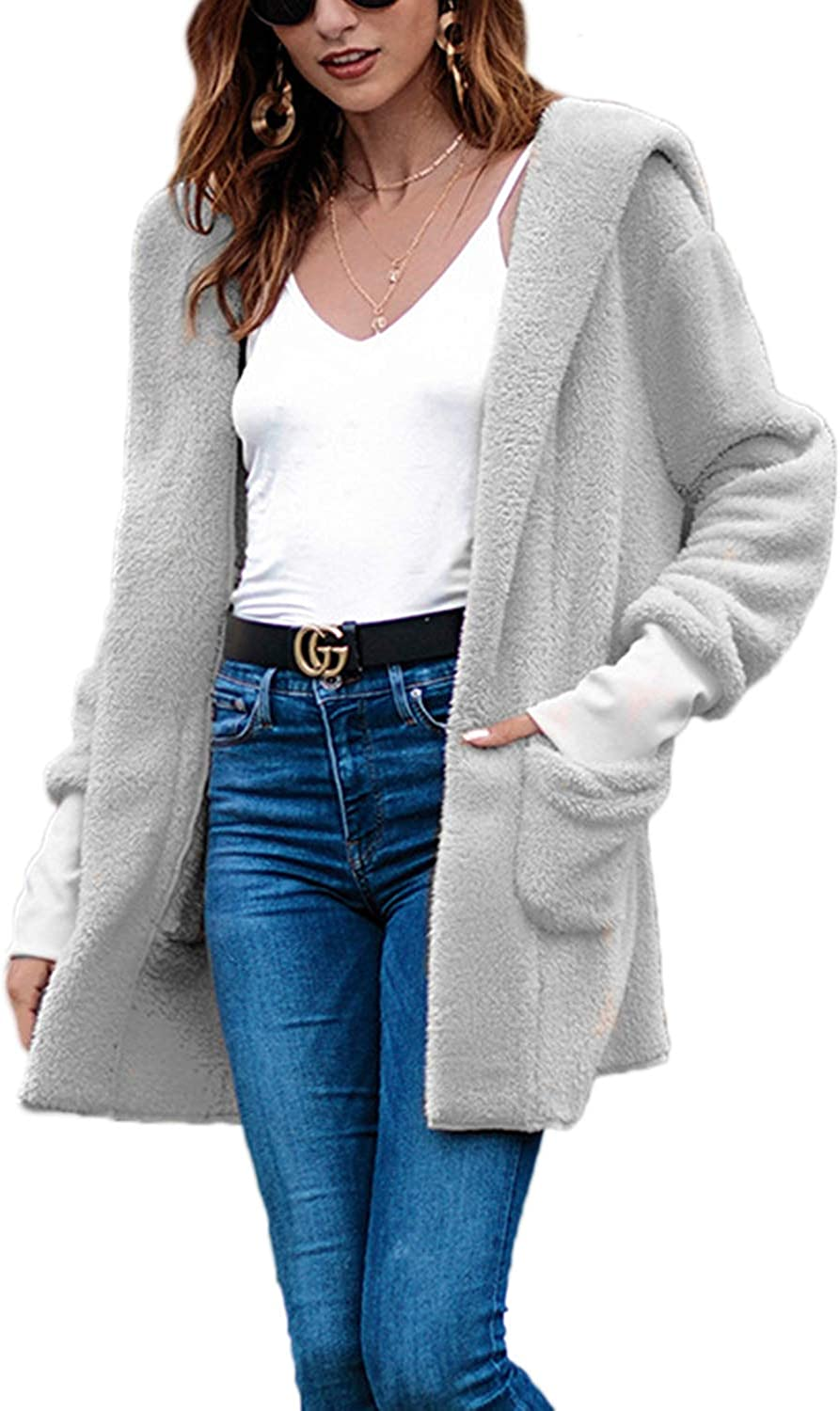 Women Hooded Coat Fuzzy Open Front Pocket Long Sleeve Cardigan Outerwear