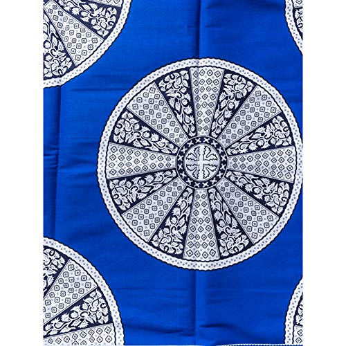 African Textiles Real Wax Blue White Plant Flower Circle Design 6 Yards for Wedding Party Dress - Flower Design Circle