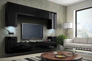 HomeDirectLTD Future 1 Wohnwand Anbauwand Schrankwand Möbel Wand TV Ständer  Wohnzimmer Hochglanz Schwarz/Weiß