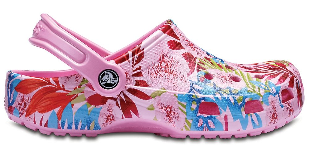 Crocs Unisex Classic Printed Clog Mule, Carnation/Candy Pink, 6 US Men / 8 US Women