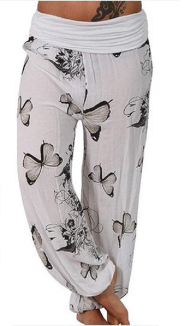 Smallwin Womens Yoga Printed Midi Waist Casual Sport Jogger Pants