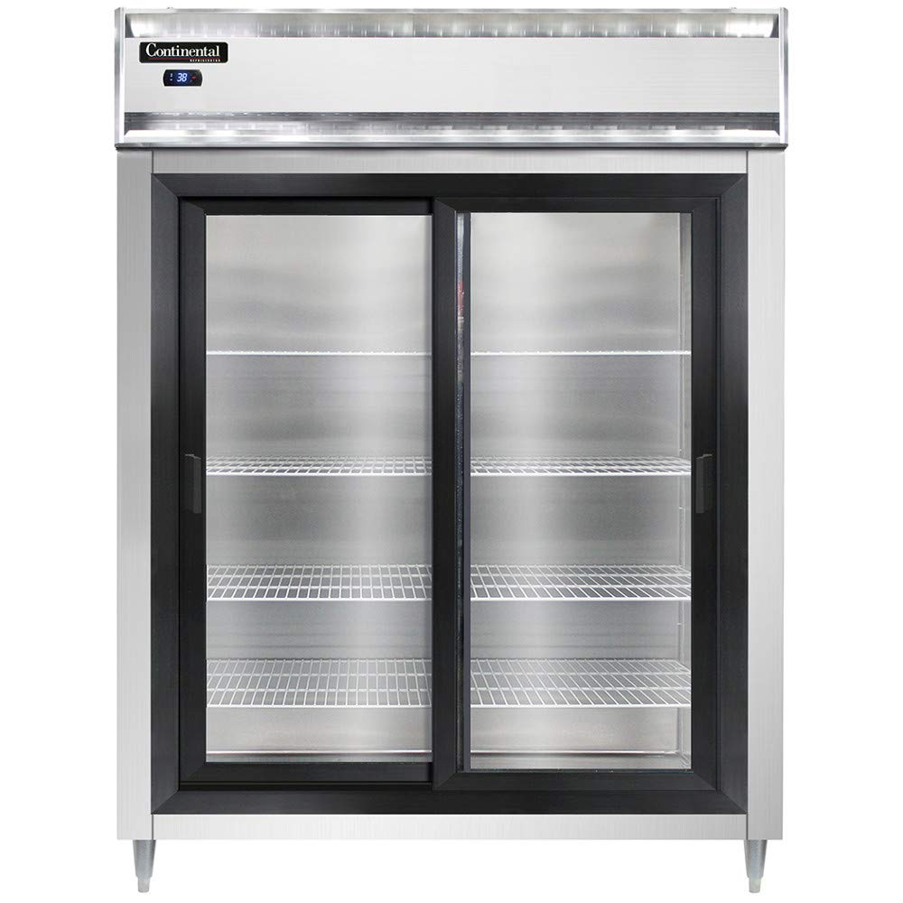 "Continental Refrigerator DL2RES-SS-SGD Designer Line Extra-Wide Two Section Sliding Glass Door Refrigerator, 57""W, Shallow Depth & Full Stainless"
