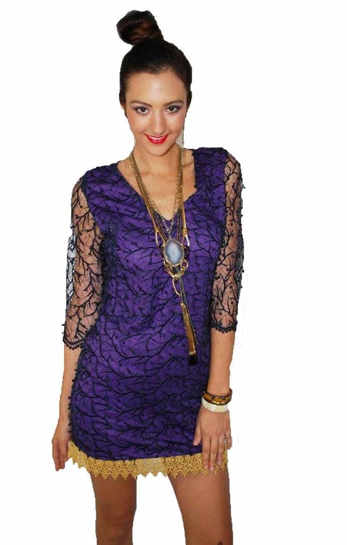 Fashion Risks Women's Short Venice Lace Dress Royal Blue