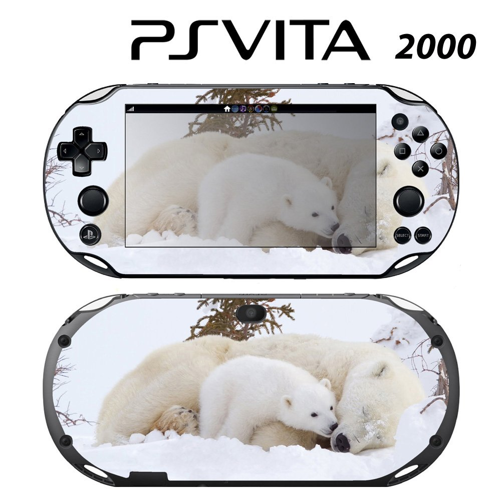 Decorative Video Game Skin Decal Cover Sticker for Sony PlayStation PS Vita Slim (PCH-2000) - Sweet Baby Polar Bear Cub with Mom