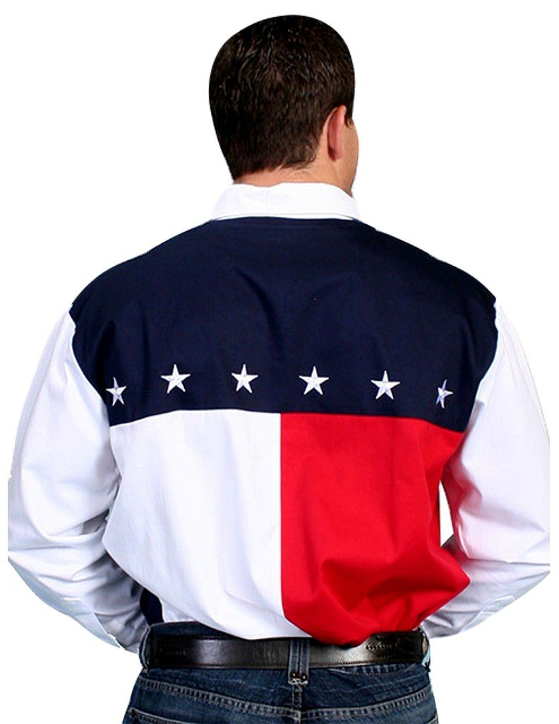 Scully Men's Patriotic American Flag Colorblock Western Shirt Blue Large by Scully (Image #2)