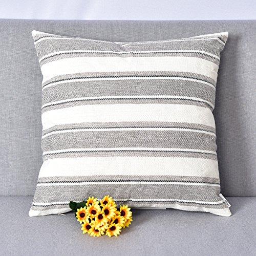 Natus Weaver Decor Light Grey Pure White Stripe Lined Linen Burlap Square Throw Cushion Cover Sham Euro Pillowcase With Hidden Zipper, 18