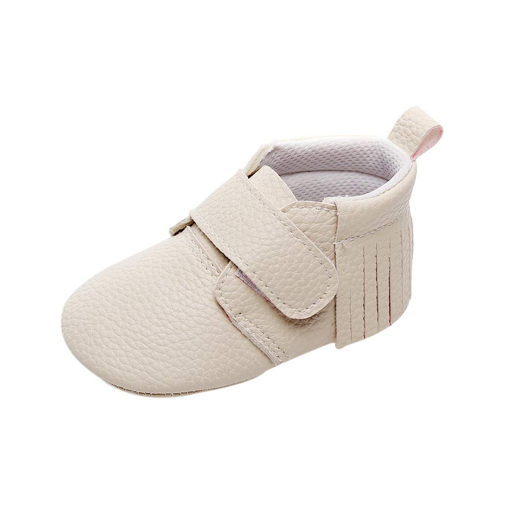 Lanhui Newborn Shoes Baby Girls Boys Cute Solid Tassel First Walkers Casual Shoes Beige