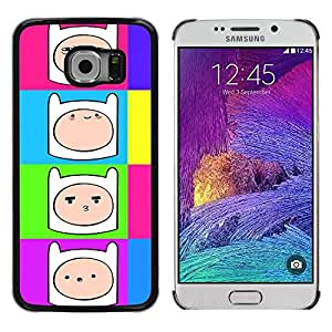 Slim Design Hard PC/Aluminum Shell Case Cover for Samsung Galaxy S6 EDGE SM-G925 Comic Cartoon Smiley Face Colorful Neon / JUSTGO PHONE PROTECTOR