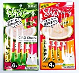 CIAO Churu Cat lick Snacks Chicken Fillet-Squid Flavor & Sasami Flavor 2 Pack (14g x 4 pieces of Pack)