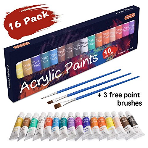 : Acrylic Paint Set, Shuttle Art 16 x12ml Tubes Artist Quality Non Toxic Rich Pigments Colors Great For Kids Adults Professional Painting on Canvas Wood Clay Fabric Ceramic Crafts