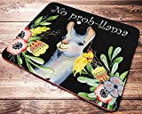No Prob-Llama Funny Mouse Pad Mat Cute Floral Quote Lama Mousepad Desk Accessories for Women Teacher Great Gift Idea