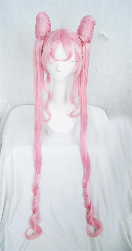 Costume Di Carnevale Halloween Woman Wigs Resistente Alle Alte Temperature Cosplay LanTing Sailor Moon pink Chibiusa Chib lolita bun styled woman Parrucca Accessori Da Adulti Donna Fashion Capelli Festa