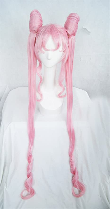 LanTing Cosplay Peluca Sailor Moon Pink Black Lady lolita bun styled woman Cosplay Party Fashion Anime