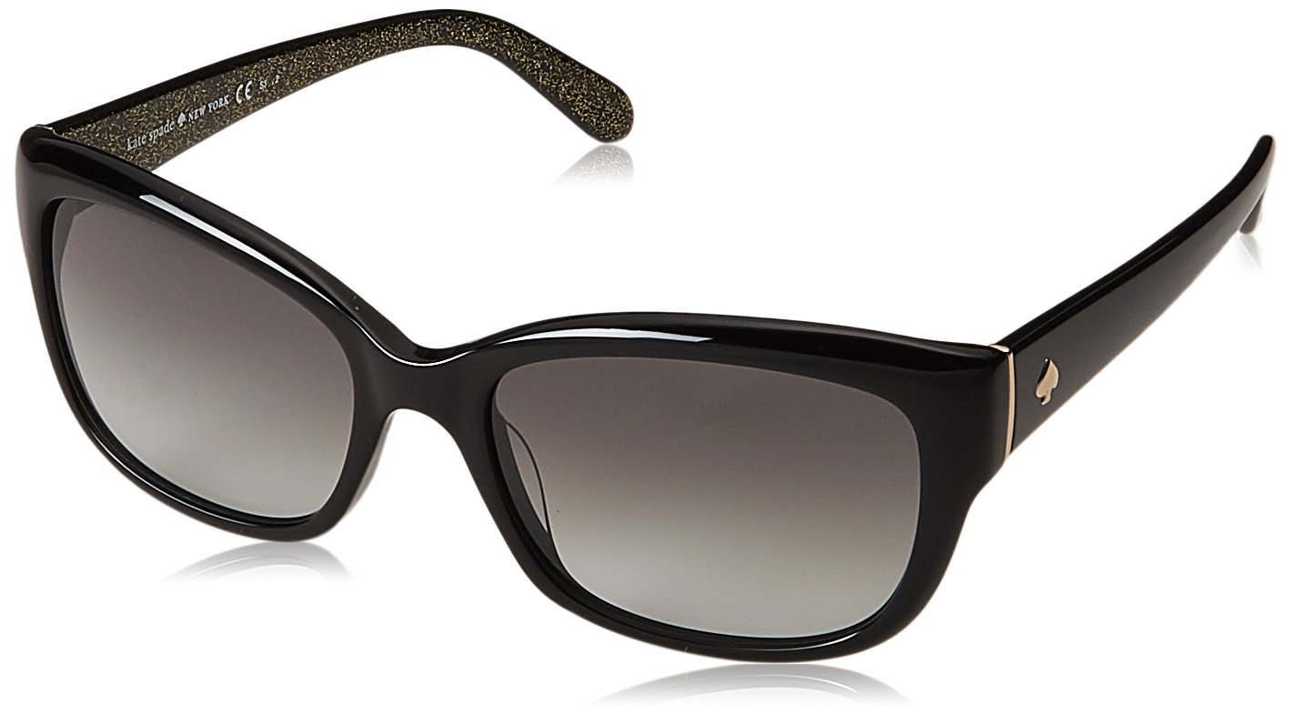 Kate Spade Women's Johanna Rectangular Sunglasses, Black, 53 mm by Kate Spade New York