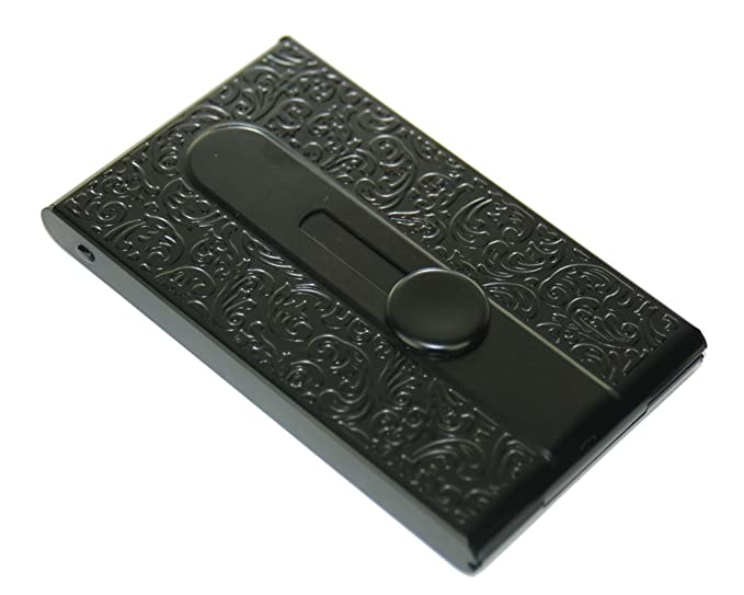 Amazon business card holder slide out black metal engraved business card holder slide out black metal engraved top colourmoves