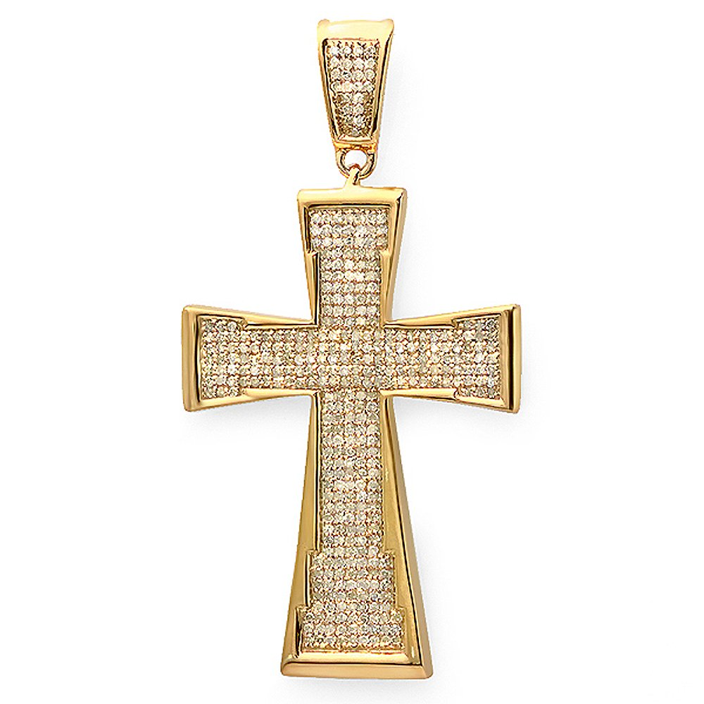 1.00 Carat (ctw) 18k Yellow Gold Plated Sterling Silver Micro Pave Diamond Mens Religious Cross Pendant