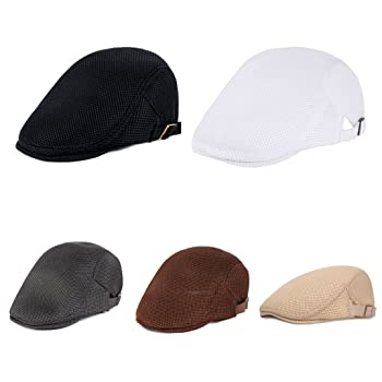 Mens Breathable Mesh Summer Duckbill Hat,Newsboy Beret,Flat-top Cap