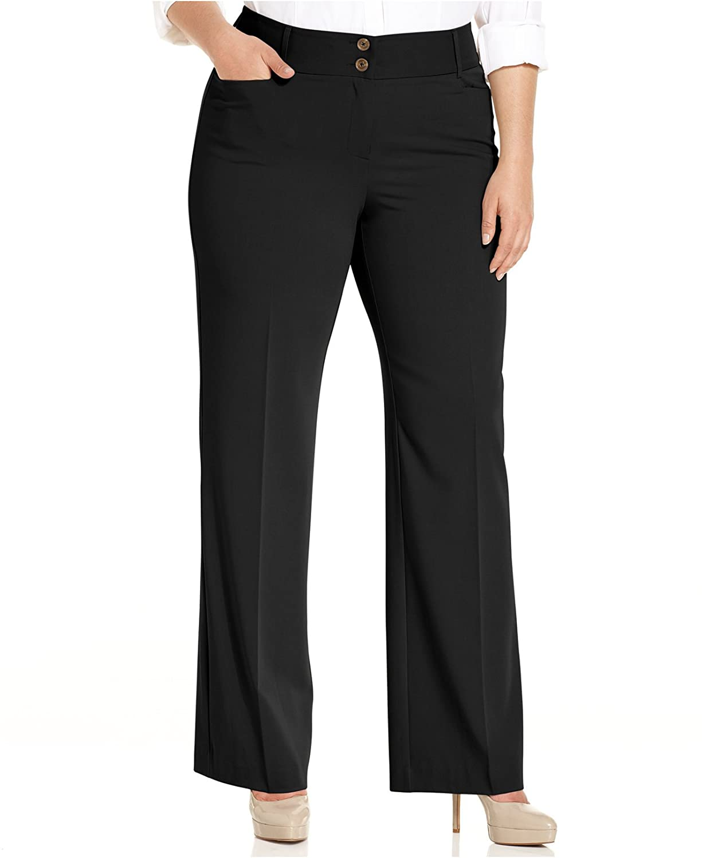 f4298cfb753 Alfani Plus Size Curvy-Fit Slimming Bootcut Pants at Amazon Women s  Clothing store
