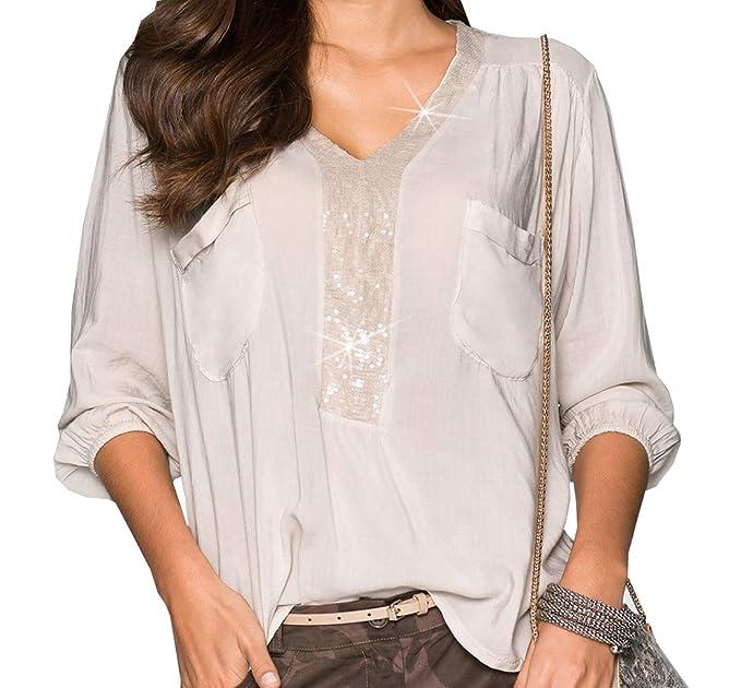 JackenLOVE Primavera y Otoño Casual Tops Mujeres Moda Lentejuelas Costura Blusas tee Camisas Cuello V Camisetas