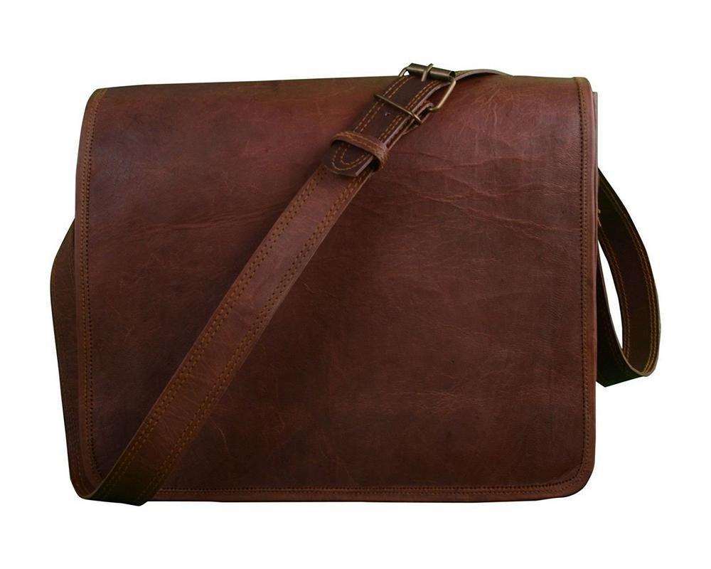 Men/'s Vintage Brown Leather Full Flap Messenger Laptop Satchel Shoulder Bag