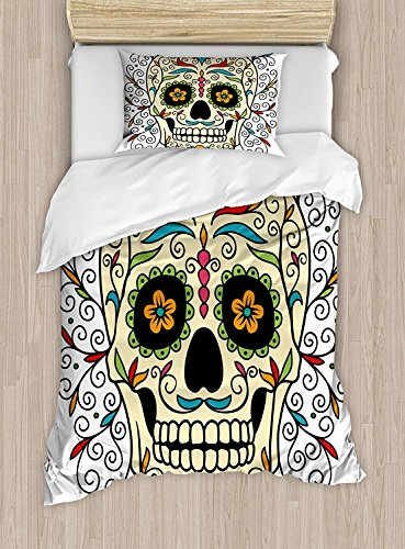 Full Bedding Sets for Boys,Sugar Skull Duvet Cover Set,Catrina Calavera Featured Figure Ornaments Macabre Remember The Dead Theme,Cosy House Collection 4 Piece Bedding Sets