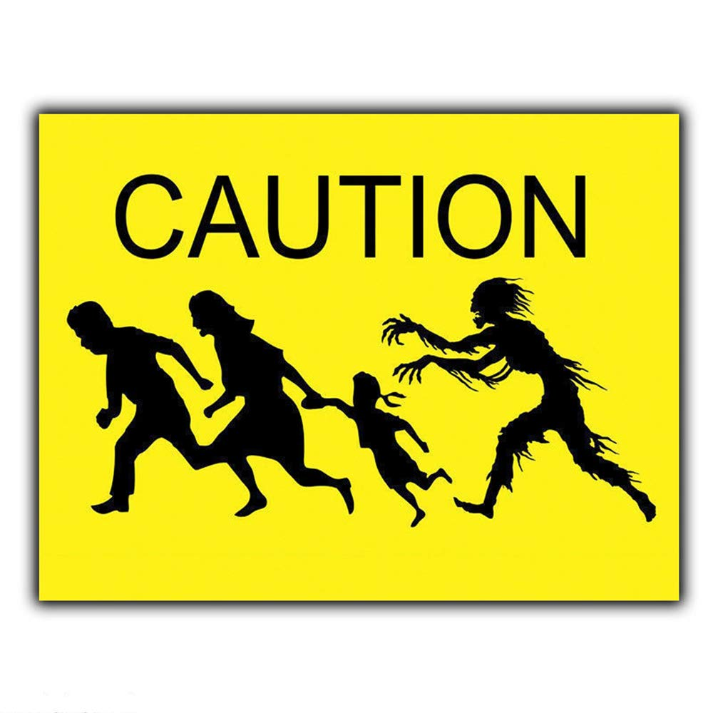 Caution Zombie Attack Póster De Pared Metal Retro Placa ...