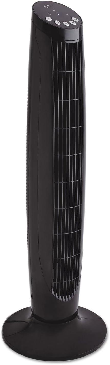 Black Plastic Alera FAN363 36-Inch 3-Speed Oscillating Tower Fan with Remote Control