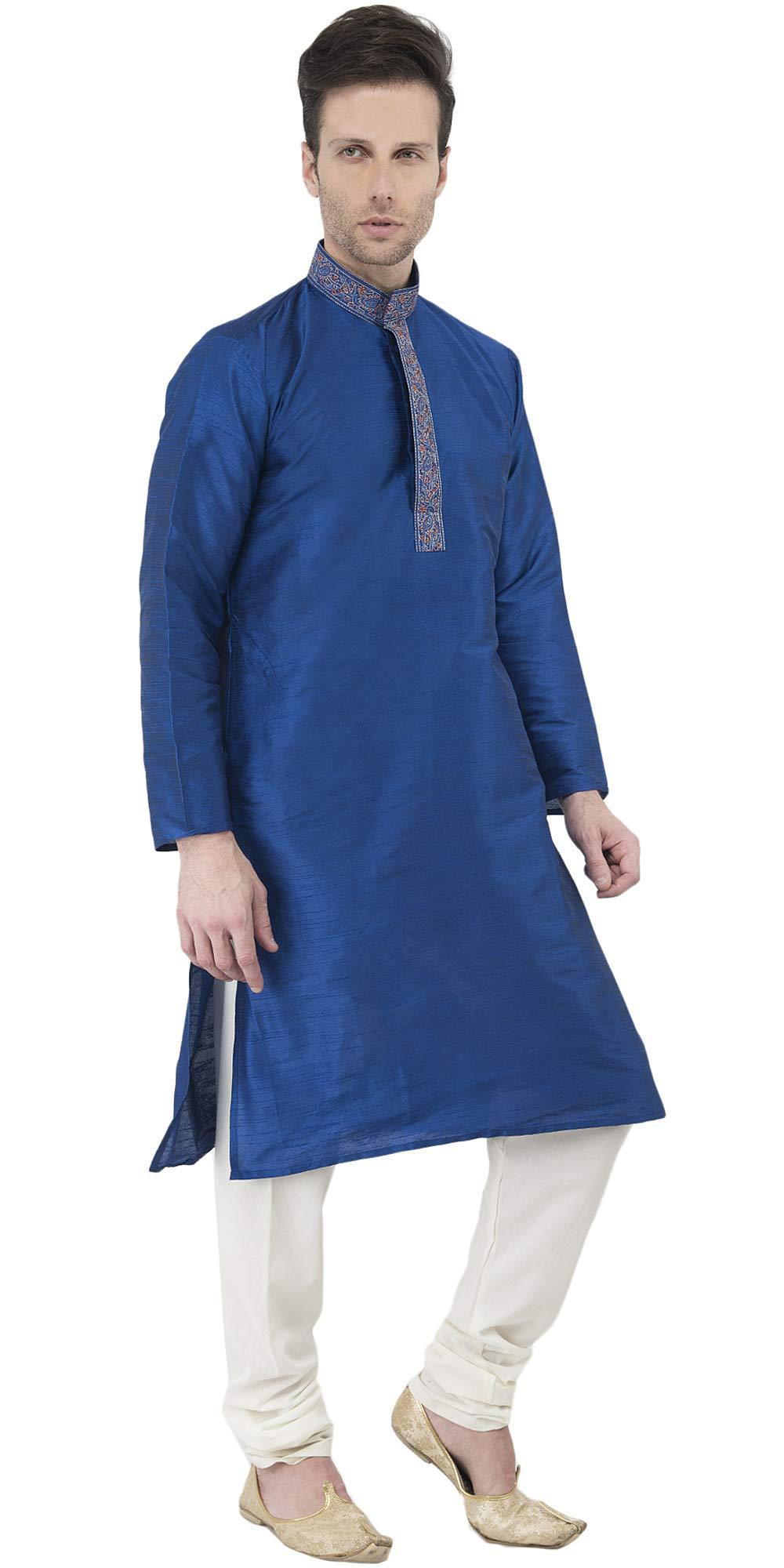 Indian Long Sleeve Kurta Pajama Dress Men Salwar Kameez Party and Wedding Wear -XL by SKAVIJ (Image #3)