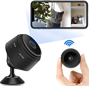 Mini Trail Camera,1080P Full HD Wireless WiFi Bluetooth Door Camera with Audio and Video,Micro Nanny Cam with Motion Detection and Night Vision,Small Security Surveillance Camera for Home and Outdoor