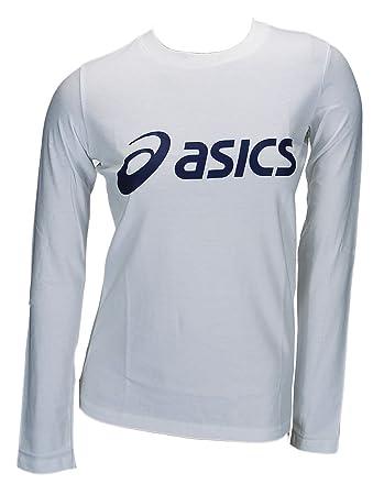 Asics Sinius Longsleeve Logo T-Shirt Damen 0001 Art. 672932 weiss Größe XXL