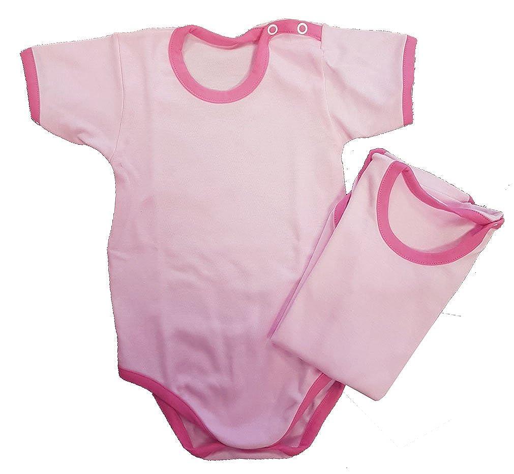 Zigozago - SET composto da 2 Body in maglina di cotone manica corta; Taglia: 12 mesi; Colore: fondo rosa con bordi fuxia