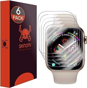 Skinomi TechSkin [6-Pack] (Slim Design) Clear Screen Protector for Apple Watch Series 4 (40mm) Anti-Bubble HD TPU Film