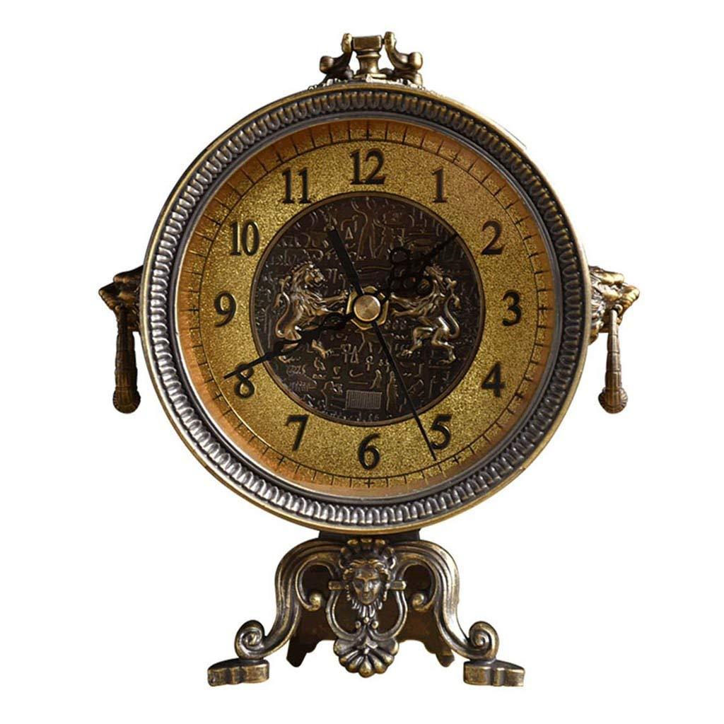 机上時計ファミリー用時計アメリカンレトロ暖炉テーブル装飾用時計刻々と過ぎないリビングルーム用静音メテルリビングルームに最適寝室オフィス(色:ブロンズ) B07THTGVNX Bronze