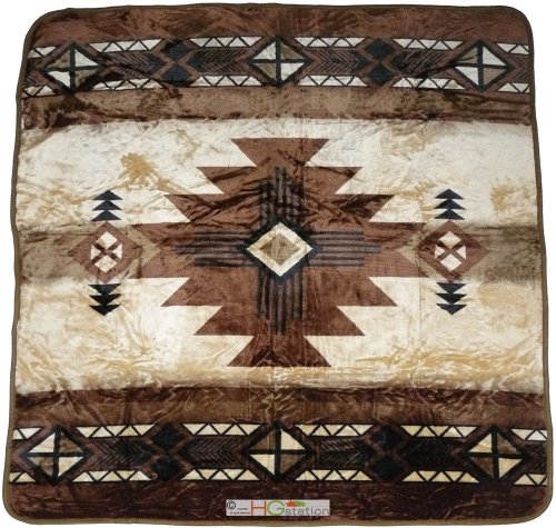 79x94 Southwest Native Indian Beige Soft Plush Faux Mink Thr